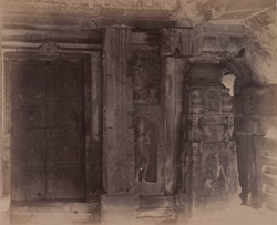 Close view of doorway with pillars and sculptured scenes on surrounding wall, Ketapai Narayana Temple, Bhatkal